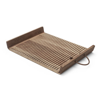Flow Oak Tray with Leather Handle