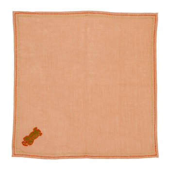 Cotton Napkin with Tiger Embroidery - Peach