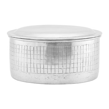 Metal Check Stripe Storage Jar with Lid