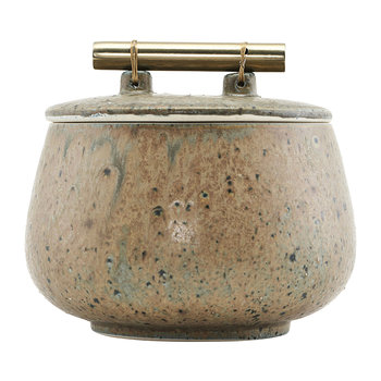 Diva Stone Storage Jar with Lid - Green