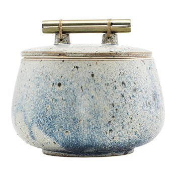 Diva Stone Storage Jar with Lid - Blue