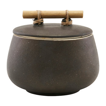 Diva Stone Storage Jar with Lid - Brown