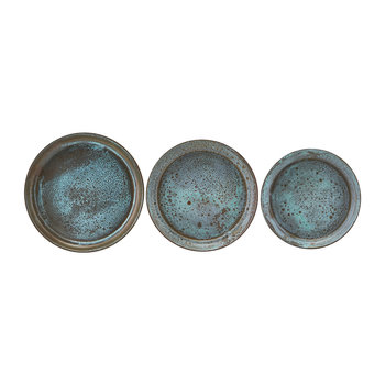 Textured Metal Tray - Set of 3 - Green