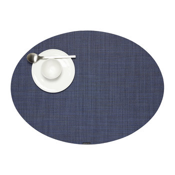 Basketweave Woven Circle Placemat - Indigo