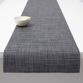 Basketweave Woven Table Runner - Cool Gray