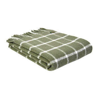 Pure New Wool Chequered Throw - Olive