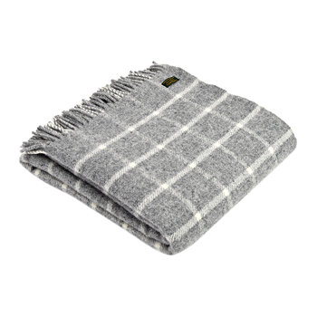 Pure New Wool Chequered Throw - Grey
