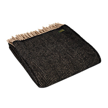 Herringbone Wool Throw - Vintage