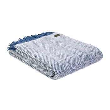 Herringbone Wool Throw - Ink & Silver Grey