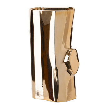Metal Log Vase - Gold - Medium