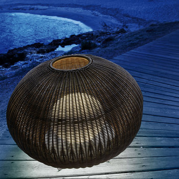 Garota Rattan Floor Lamp - Brown
