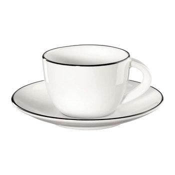 Black Rim Espresso Mug and Saucer