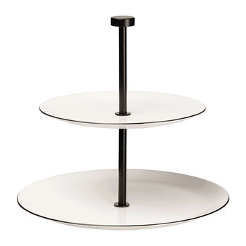 Black Rim Two Tier Cake Stand