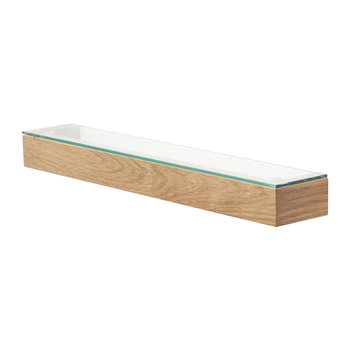 Slimline Glass Shelf - Oak