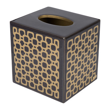 Meurice Tissue Box - Carved Chestnut / Gold