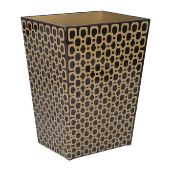 Meurice Waste Bin - Carved Chestnut / Gold