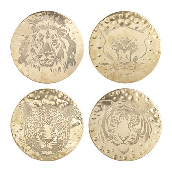 Feline Brass Coaster- Set of 4