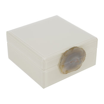 Agate Handle Box - Ivory