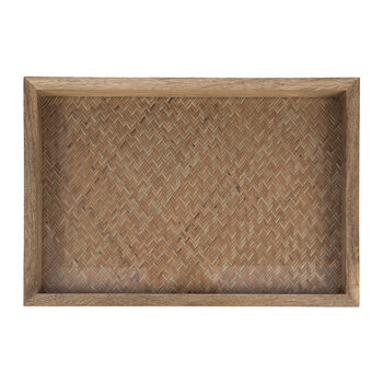 Woven Base Wooden Tray