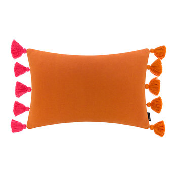 Knitted Pom Pom Trim Cushion - 40x60cm - Pink & Orange