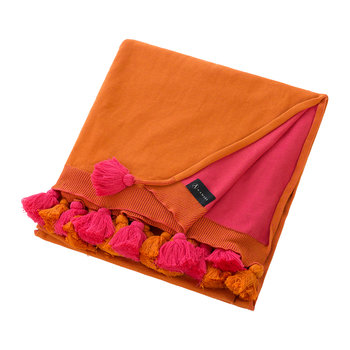 Pom Pom Knitted Throw - 130x170cm - Pink & Orange
