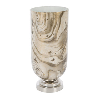 Antique Look Marbled Candle Holder - Gold