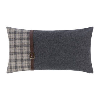 Tartan/Blue Cushion With Leather Strap Details - 30x50cm
