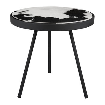 Cowhide Side Table - Black & White Spot