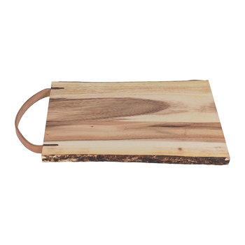 Wooden Platter With Leather Handle