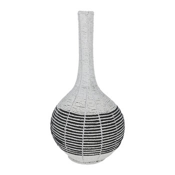 White Calabash Vase With Horizontal Stripe - Large