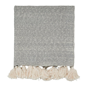 Composition Knitted Throw - Putty