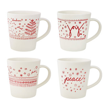 Holiday Accent Mugs - Set of 4