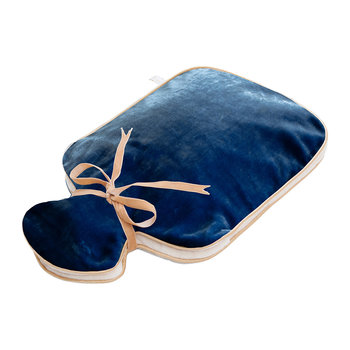 Silk Velvet Hot Water Bottle - Blue
