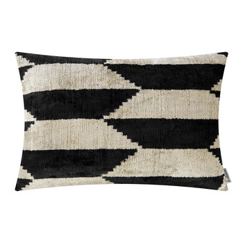Velvet Cushion - 40x50cm - Black/White Pattern