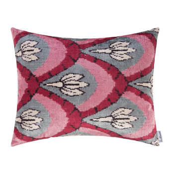 Velvet Cushion - 40x50cm - Pink/Grey Pattern