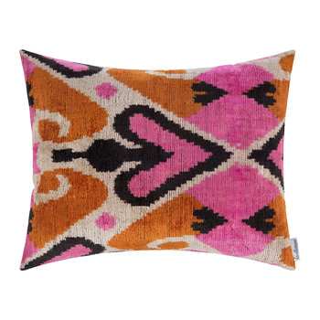 Velvet Cushion - 40x50cm - Pink/Orange Heart Pattern
