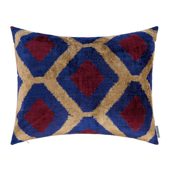 Velvet Cushion - 40x50cm - Blue/Red Pattern