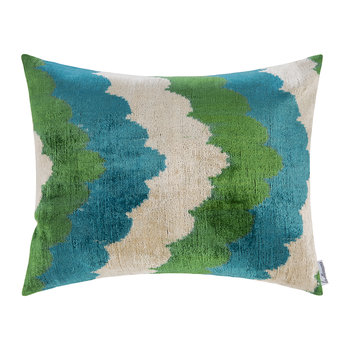 Velvet Cushion - 40x50cm - Green/Blue Scallop Pattern