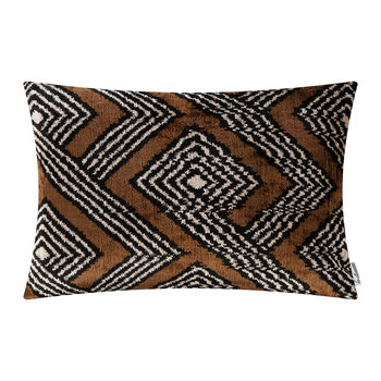 Velvet Cushion - 40x50cm - Black/White Geo Stripe Pattern