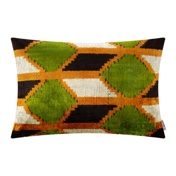 Velvet Cushion - 40x50cm - Green/Orange Diamond Pattern