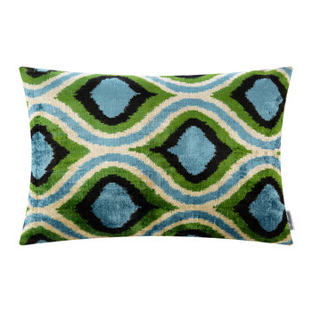 Velvet Cushion - 40x50cm - Blue/Green Oval Pattern