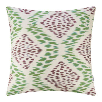 Silk Ikat Pillow - 60x60cm - Green/White Pattern
