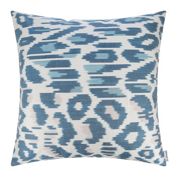 Silk Ikat Cushion - 60x60cm - Blue/White Pattern