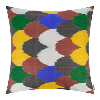 Silk Ikat Cushion - 60x60cm - Multicolour Scallop Pattern