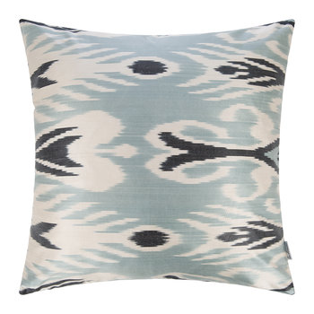 Silk Ikat Cushion - 60x60cm - Blue Decorative Pattern