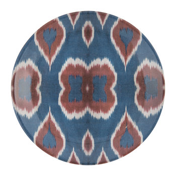 Ceramic Ikat Side Plate - Blue/Red
