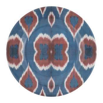 Ceramic Ikat Dinner Plate - Blue/Red