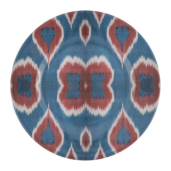 Ceramic Ikat Dessert Plate - Blue/Red