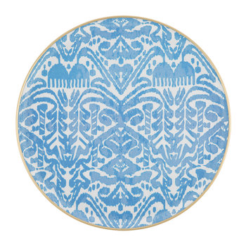 Fiberglass Round Tray - Big - Blue/White