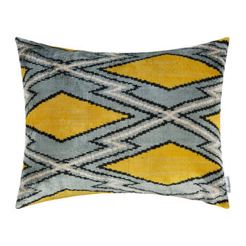 Velvet Pillow - 40x50cm - Blue/Yellow Diamond Pattern